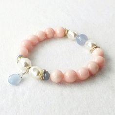 Pink Jade Bracelet Blue Semi Precious Stone Swarovski Pearl Trending Beach Cottage Chic Stretch Wedding Bridal Bridesmaids New Mother Gift