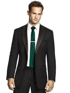 Men's emerald green skinny tie and black suit