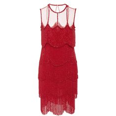 Naeem Khan Sleeveless Flapper Fringe Mesh Neckline Mini Dress ($5,995) ❤ liked on Polyvore featuring dresses, red, mesh dress, gatsby dress, short mini dress, red cocktail dress and red sleeveless dress