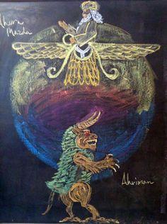 Waldorf ~ 5th grade ~ Ancient Persia ~ Ahura Mazda & Ahriman ~ chalkboard drawing
