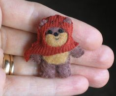 Ewok miniature plush Star Wars character - hand stitched felt... too cute!!