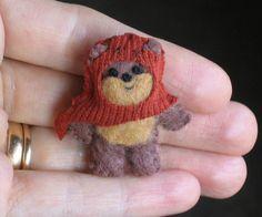 Ewok miniature plush Star Wars character - hand stitched felt. CUTE!