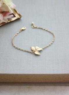 Gold Orchid Flower Swarovski Ivory Pearl Bracelet. by Marolsha