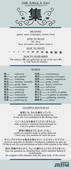 Learn one Kanji a day with infographic - 集: http://japanesetest4you.com/learn-one-kanji-a-day-with-infographic-%e9%9b%86-shuu/