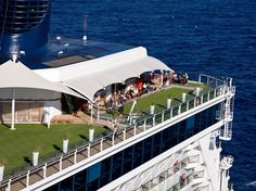 "Best Cruise Ship Sundecks: BEST ONBOARD ""PARK""  Celebrity Cruises    On Celebrity's newest quartet of ships—Solstice, Eclipse, Equinox and Silhouette—The Lawn Club is lush and lovely grassy expanse adjacent to the ship's main pool. You can spread out your towel and sunbathe, have a picnic, listen to live music, and play bocce and croquet. In port, birds are often drawn to the Lawn (which simply adds to its park-like atmosphere) and their chirps and tweets are a nice musical touch."