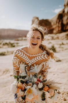 Wedding Venues Bride laughing with long messy braid. Desert wedding at Under Canvas Moab Luxury Wedding Venues, Affordable Wedding Venues, Outdoor Wedding Venues, Star Wedding, Boho Wedding, Dream Wedding, Summer Wedding Bouquets, Wedding Dresses, Fall Bouquets