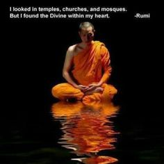 I looked in temples, churches, and mosques.  But I found the Divine within my heart.  Molavi (a. k. a. Rumi)
