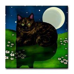 Tortoiseshell Cat Moon Flowers Ceramic Tile Coaster