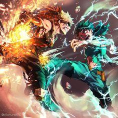 Izuku Midoriya {Deku} & Katsuki Bakugou - Boku No Hero Academia☆ Boku No Hero Academia, My Hero Academia Memes, Hero Academia Characters, My Hero Academia Manga, Anime Characters, Manga Anime, Fanarts Anime, Anime Guys, Anime Art
