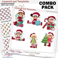 Merry Christmas Fairies Layered Template COMBO Set, bundle, cu, commercial, clipart, scrap, scrapbooking, cudigitals.com,