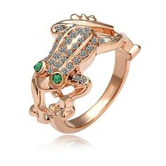 Fashion Frog Ring Cute frog with crystal inlay.  Frog has green crystal eyes.  18k rose gold plated. This is my lowest price listed upfront.  Thanks for looking! Jewelry Rings