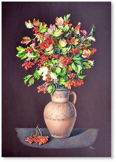 "Guelder rose  watercolor 27.6""x19.7"", 2012; 300$"