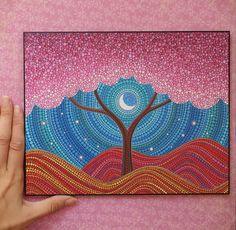 Moonlit Blossoms Art Postcard by Elspeth McLean by ElspethMcLean Mandala Art, Mandala Painting, Dot Art Painting, Stone Painting, Emboss Painting, Dibujos Zentangle Art, Elspeth Mclean, Inspiration Art, Aboriginal Art