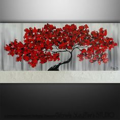 Abstract Modern Landscape Tree Palette Knife Art by Gabriela 48x24 Large, black white red