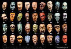 Des visages sculptés à partir de rouleaux de papier toilette vides par l'artiste français Junior Fritz Jacquet, qui déforme avec minutie ces tubes de carton pour créer des masques étranges et expressifs…
