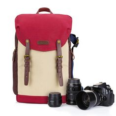 This vintage Rucksack Backpack is so stylish that no one would ever know it was your camera bag. The camera pouch is located on the lower back end with 5 customizable cell dividers to fit your camera