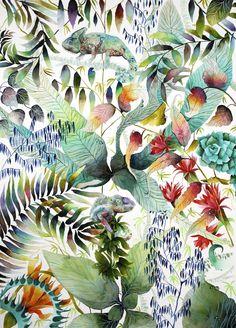 Kate Morgan (British) - Chameleon, 2014 Paintings: Watercolors, Ink
