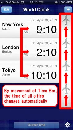 """World Clock"" is an application that displays a list of the times in several cities around the world.  If you change the time in one city, the times in the other cities are changed automatically as well. #iPhone #App"