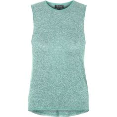 TopShop Knitted Tank Top ($20) ❤ liked on Polyvore featuring tops, topshop, tank tops, green, green tank, green tank top, relaxed fit tops and topshop tops