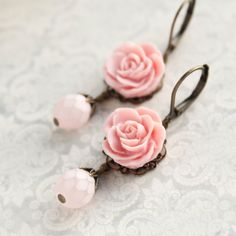 Pink Rose Earrings Bridesmaids Gift Idea Frosted Pink Glass