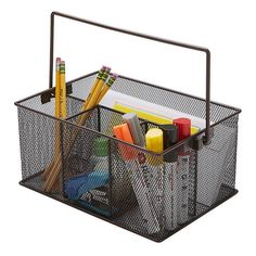 This versatile Mind Reader Mesh Desk Organizer Basket/Utensil Caddy is perfect for holding utensils on a countertop or keeping pens, pencils and markers organized on your desk. Desk Caddy, Utensil Caddy, Storage Caddy, Storage Baskets, Giant Pencil, Home Organization Hacks, Organizing, Marker Storage, Small Craft Rooms