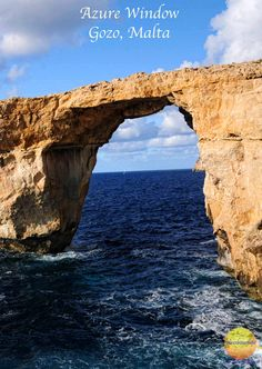 Azure Window in Gozo, Malta. Crashing waves are slowly destroying it and will eventually disappear.