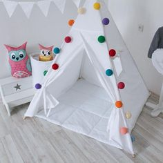 White teepee with poles Entirely white tepee tent for kids Nursery Play tent Classical indoor wigwam Tipi playhouse READY TO SHIP White teepee with poles Entirely white tepee Diy Teepee, Teepee Party, Teepee Tent, Teepees, Kids Tents, Teepee Kids, Indoor Tent For Kids, Creative Home, Inspired Homes