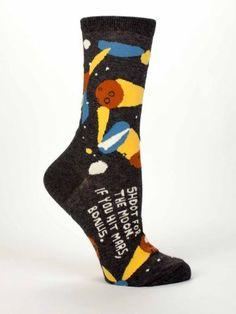 Shoot For The Moon, If You Hit Mars, Bonus Socks- Blue Q- $9.99