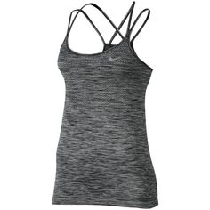 Nike Dri-FIT Knit Racerback Running Tank Top, Black/Silver ($61) ❤ liked on Polyvore featuring activewear, activewear tops, nike sportswear, nike and nike activewear