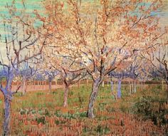 Orchard with Blossoming Apricot Trees. Vincent van Gogh. Download painting.