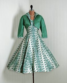 Sun Dress Set, Saks Fifth Avenue: 1950's, vines print novelty polished cotton, pleated circle skirt, matching wide collar bolero.