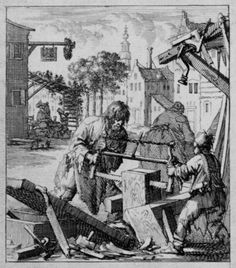A carpenter and his son (assistant?) are sawing a big block of wood; in the background people are drinking wine and beer on the terrace in front of an inn Woodworking Images, Woodworking Machinery, Woodworking Projects, Old Tools, Old Pictures, Art Reference, Medieval, Vintage World Maps, Amsterdam