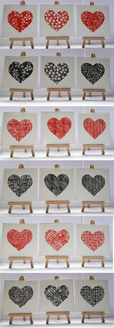 A selection of lino printed cards, hearts and patterns Lino Prints, Block Prints, Doodle Designs, Card Designs, Valentines Card Design, Lino Art, February 14, Print Ideas, Art Things