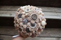 Unique vintage felt button wedding bouquet. Discovered on etsy.com...of course!