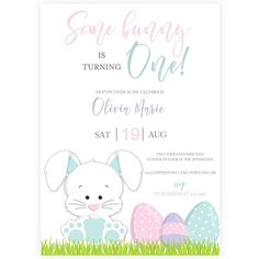 Bunny First Birthday Invitation