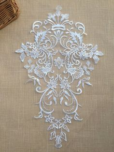 Lace Embroidery Motif Floral Lace Motif Trim Wedding by LaceNTrim Embroidery Motifs, Vintage Embroidery, Embroidery Designs, White Embroidery, Embroidery Dress, Motif Floral, Floral Lace, Embroidered Lace, Lace Applique