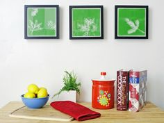 A few clippings of foliage and some spray paint transform a blank canvas into bright, modern wall art.