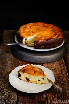 Russian Cheesecake - made with Farmers Cheese and raisins. Traditional healthy dessert.