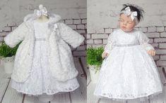 Taufkleid 56-92 ❤️Neuheit 2019❤️ Kleid,Stirnband,Mantel Gr Set 3-teilig