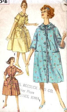 """1950s Misses Housedress or Housecoat Vintage Sewing Pattern, Simplicity 3664 bust 34"""". $10.00, via Etsy."""