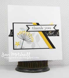I CreateStamps:  Summer Silhouettes (SU); Simple Sayings (Tim Holtz) Paper:  Solar White (Neenah), Basic Black, Crushed Curry, Whisper White (SU) Ink:  Smoky Slate, Crushed Curry, (SU), Pitch Black (Adirondack) Accessories:  Banner Trio die (WPlus9); washi tape