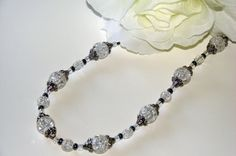 Glass Necklace. Clear Crackled Glass.  Clear by VsBeadDesigns, $29.00