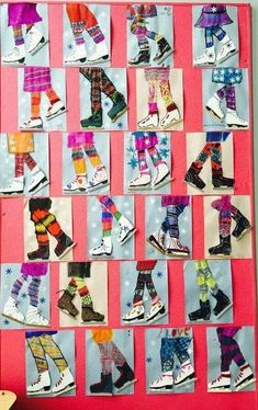 Winter Ice Skater Art Project for Kids. Use Popsicle sticks for the metal blade and yarn for lacing on the boot! Use stencil for ice skate. Winter Art Projects, Art Projects For Adults, School Art Projects, Art School, High School, Art Patin, Art 2nd Grade, Club D'art, Arte Elemental