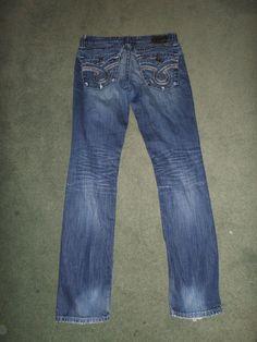 Women's Blue BIG STAR NICO Distressed Fashion Western Jeans, Size 29L X 32, GUC! #BIGSTARNICO #CountryWesternFashionEmbroideredPocketsJeans