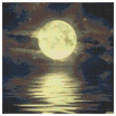 The moon reflex the river Cross stitch pattern The moon
