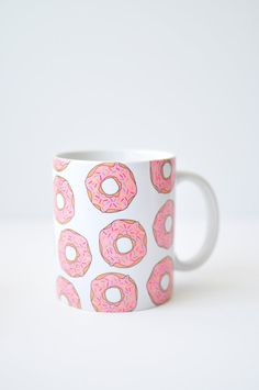 Donut mug - doughnut pink sprinkles cute fun coffee cup latte white handmade christmas xmas stocking stuffer gift holiday USD) by LittleSloth Cute Coffee Mugs, Cool Mugs, Coffee Cups, Coffee Gifts, Handmade Wedding Gifts, Handmade Gifts, Handmade Christmas, Christmas Gifts, Tassen Design