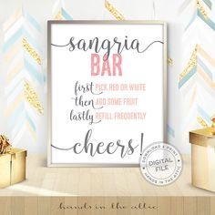 Sangria bar sign bridal shower display bachelorette party props drinks signage party signs pre-wedding celebration DIGITAL download by HandsInTheAttic