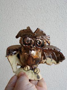 Cute little owl  nome decor  ceramic figurine  fan by DeepSilence