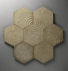 Antonio Gaudi: Tiles designed 1909 for casa Batllo | Collection Musée d'Orsay