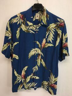 MENS 2XL XXL JAMAICAN JAXX HAWAIIAN SHIRT BLUE ALOHA FLORAL CASUAL SILK #JamaicaJaxx #Hawaiian